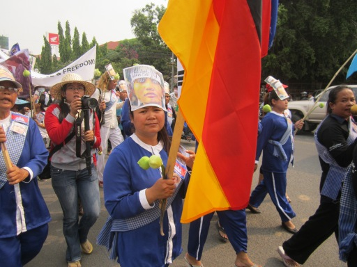 Peaceful protestors gathered together near the U.S. embassy in Phnom Penh